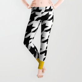 Houndstooth with mustard stripe Leggings