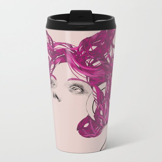 pink bunny lady Metal Travel Mug