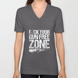 Fck Your Gun Free Zone Grunt Style Graphic Gun T-Shirts Unisex V-Neck
