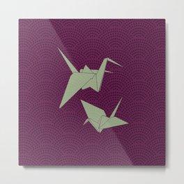 Origami paper cranes on purple waves Metal Print