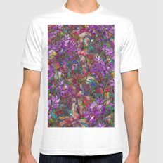 Floral Abstract Stained Glass G175 Mens Fitted Tee MEDIUM White