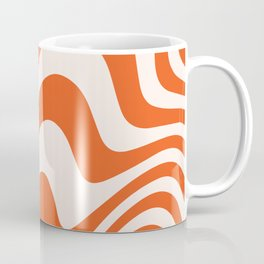 Deep Orange Zebra Grooves Abstract Pattern Coffee Mug