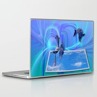 dolphins Laptop & iPad Skins featuring Leaping Dolphins by Roger Wedegis