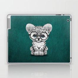 Cute Snow Leopard Cub Wearing Glasses on Teal Blue Laptop & iPad Skin