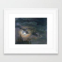 Johan-Christian-Clausen Dahl › A Cloud and Landscape Study by Moonlight Framed Art Print