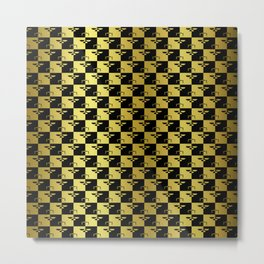 Black and Gold Checkerboard Scales of Justice Legal Pattern Metal Print