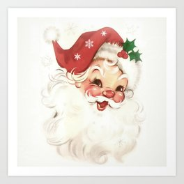 Red retro vintage Santa Art Print