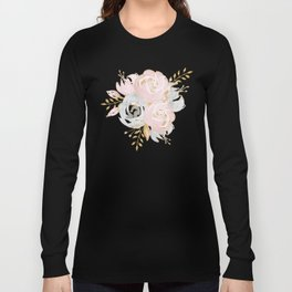 Night Rose Garden Gray Long Sleeve T-shirt