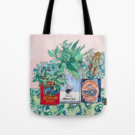 Jungle Botanical in Colorful Cans on Pink - Still Life Tote Bag