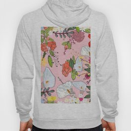 Pomegranate and lily and colorful flowers pattern pink background Hoody