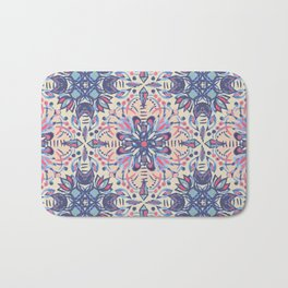 Protea Pattern in Blue, Cream & Coral Bath Mat