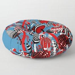 Magic Mushroom Red black blue Floor Pillow