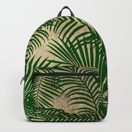 Elegant faux gold forest green tropical palm tree Backpack