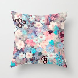 Watercolor Pastel Spring Flowers Throw Pillow