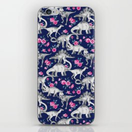 Dinosaurs and Roses on Dark Blue Purple iPhone Skin