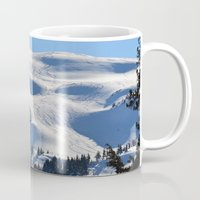 skiing Mugs featuring Back-Country Skiing - II by Alaskan Momma Bear