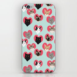 Cat hearts valentines day cat lady gifts for cat lovers cat breeds pet portraits iPhone Skin