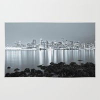 vancouver Area & Throw Rugs featuring Vancouver Skyline by Gunjan Marwah