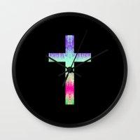 cross Wall Clocks featuring Cross by Mango Tangerine Studio