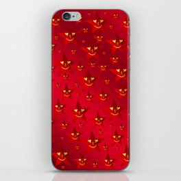 happy, smiling smileys on stars in rich red iPhone Skin