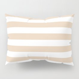 Narrow Horizontal Stripes - White and Pastel Brown Pillow Sham