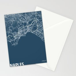 Naples Blueprint Street Map, Naples Colour Map Prints Stationery Cards