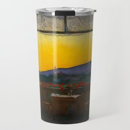 A Clean, Well-lighted Place (Room with a View) landscape painting by Harald Sohlberg Travel Mug