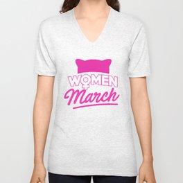 Women March January 2018 Pussycat Ears Hat Women's March Unisex V-Neck
