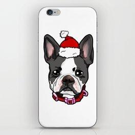 Boston Terrier Dog Christmas Hat Present iPhone Skin