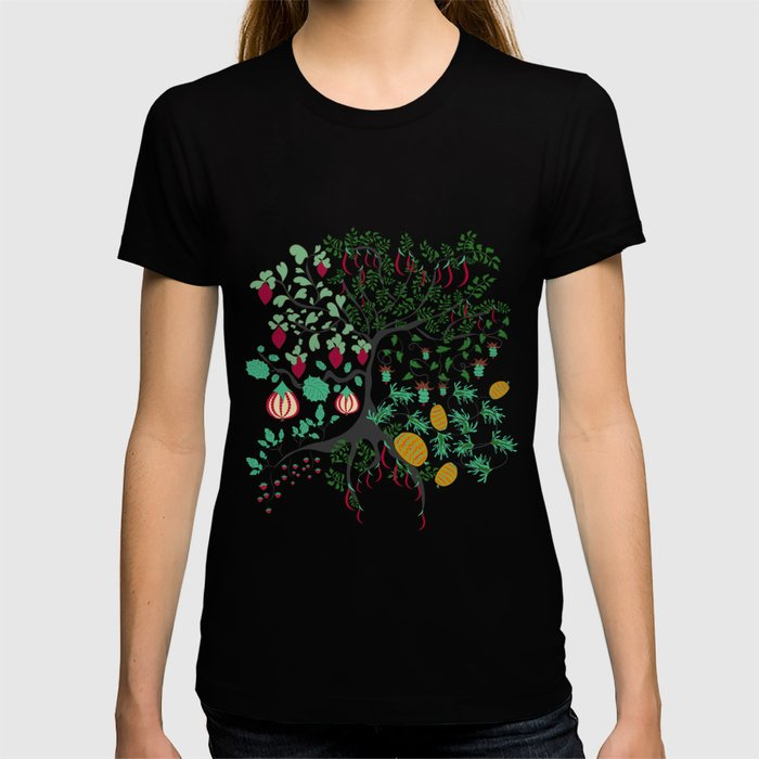 Fairy seamless pattern garden with plants, tree and flowers T-shirt