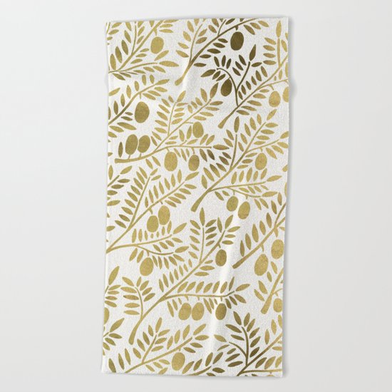 Gold Olive Branches Beach Towel