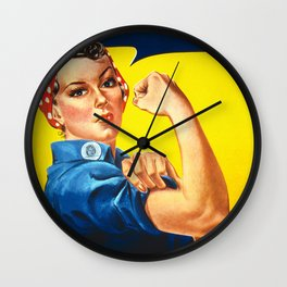Rosie The Riveter Vintage Women Empower Women's Rights Sexual Harassment Wall Clock