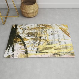 Armor [11]: a bold, elegant abstract mixed media piece in gold pink black and white Rug