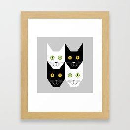 Black cat, white cat Framed Art Print