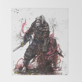 Geralt of Rivia Witcher Samurai Tribute Throw Blanket