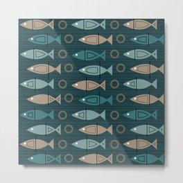 Mid Century Modern Fish Pattern Dark Teal Bronze Metal Print