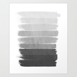 Brushstroke - Ombre Grey, Charcoal, minimal, Monochrome, black and white, trendy,  painterly art  Art Print