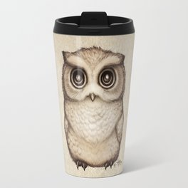 """The Little Owl"" by Amber Marine ~ Graphite & Ink Illustration, (Copyright 2016) Travel Mug"