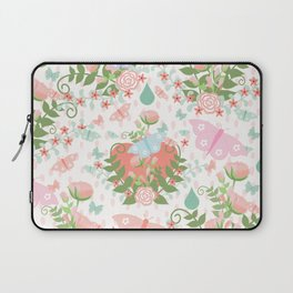 Pastel coral pink green butterfly floral polka dots Laptop Sleeve
