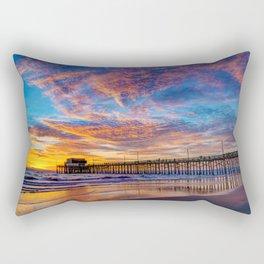 Painted Sky Over Newport Pier Rectangular Pillow