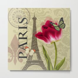 Vintage Paris & Flower Collage Metal Print