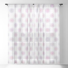 Pink Purple Rainbow Outline Cyberatomic Flowers Sheer Curtain