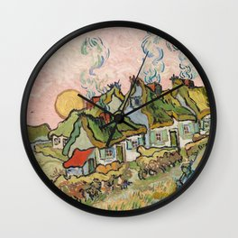 Houses and Figure by Vincent Van Gogh, 1890 Wall Clock