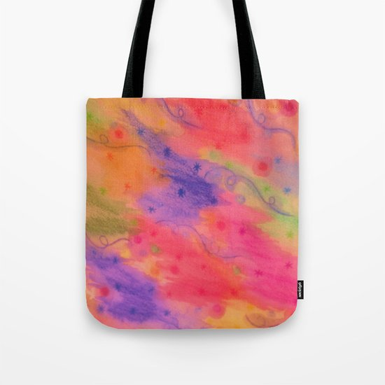 SEEING STARS 3 - Peach Pink Pretty Starry Sky Abstract Watercolor Painting Lovely Feminine Pattern Tote Bag