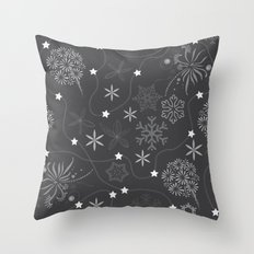 Stars on a string with snowflake and fireworks Throw Pillow