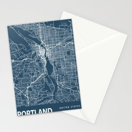 Portland Blueprint Street Map, Portland Colour Map Prints Stationery Cards