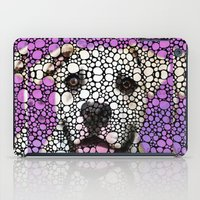pit bull iPad Cases featuring Pit Bull Stone Rock'd Art By Sharon Cummings by Sharon Cummings