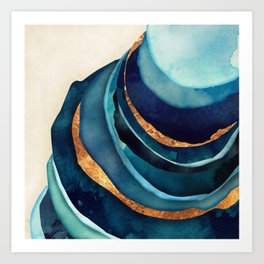 Abstract Blue with Gold Kunstdrucke