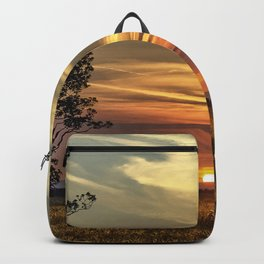 Sunset over farmers cornfield on a hot, summers evening. Backpack