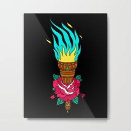 TORCHED ROSE Metal Print